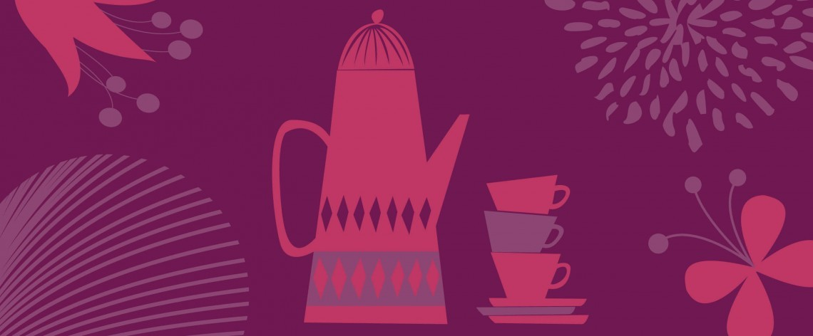 An illustration of a teapot and teacups.