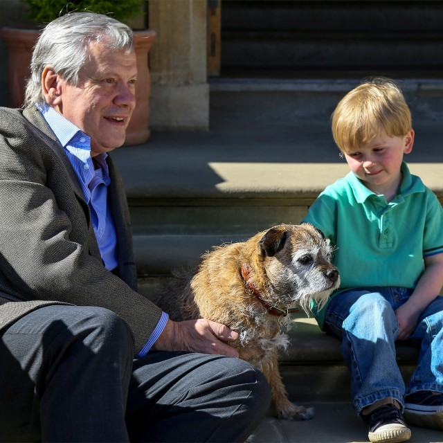 Family and dog at the dog-friendly hotel, The Ickworth