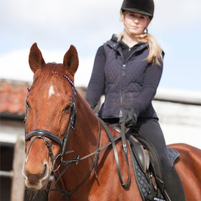 Woman riding a horse at Barrow Hall riding stables in Suffolk