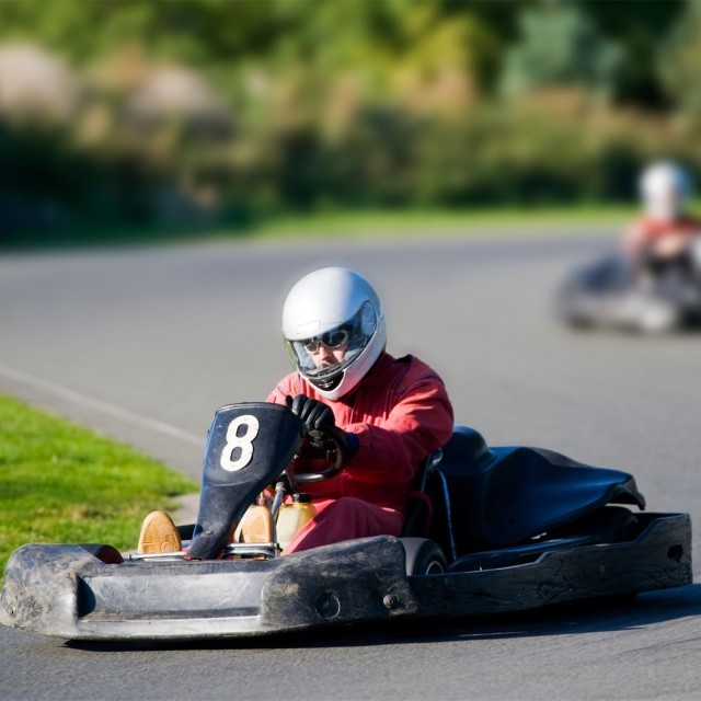 Child go-karting at the Red Lodge track in Suffolk