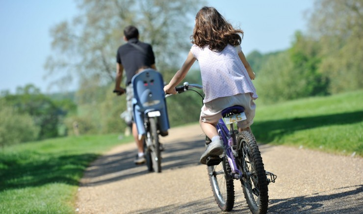 Family cycling at child-friendly hotel The Ickworth