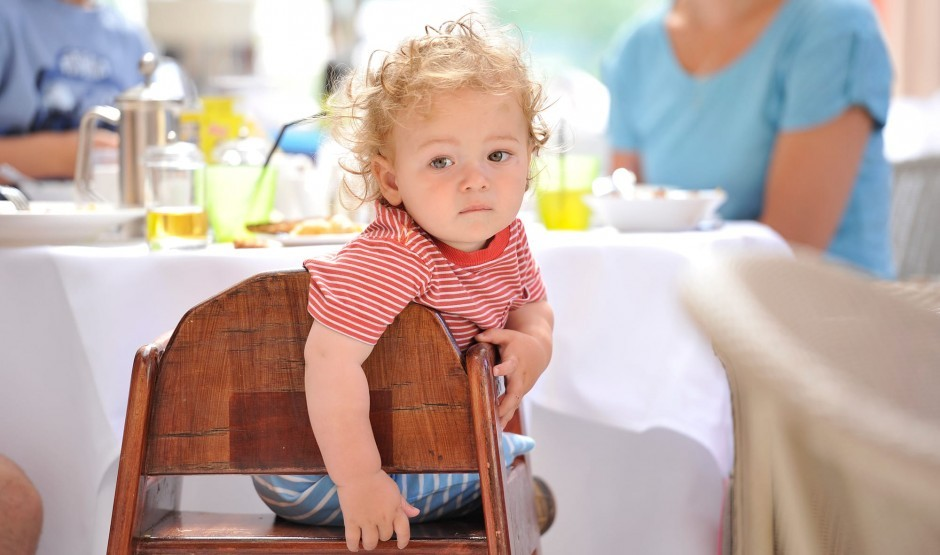 Young child in the family-friendly restaurant at The Ickworth in Suffolk
